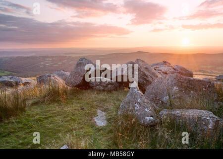 Sunset near Kings Tor Dartmoor national park Devon Uk - Stock Image