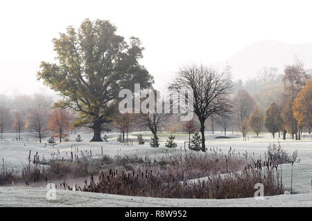 Photo of Cahir Golf course on a frosty winter morning in early morning sun. Cahir Golf Club, Cahir, Tipperary, Ireland - Stock Image