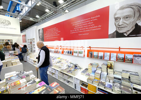 Turin, Piedmont, Italy, 10th May, 2018. International Book fair 2018,first day.Einaudi publisher's stand Credit: RENATO VALTERZA/Alamy Live News - Stock Image