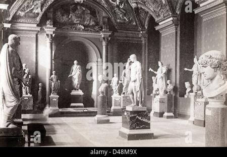Statues, British Museum, ca 1890 - Stock Image