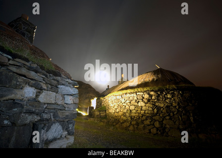 traditional Scottish Blackhouse at night on the Isle of Harris Western Isles Outer Hebrides Scotland - Stock Image