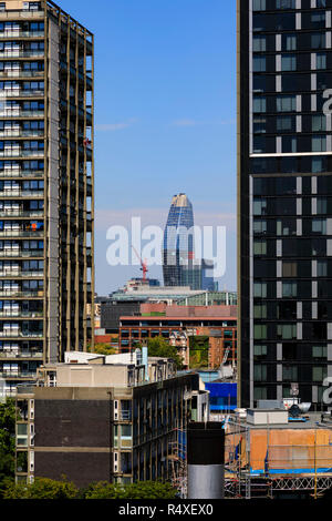 High rise buildings at Elephant and Castle, Southwark, viewed from Kennington, London, England. Strata SE1, - Stock Image