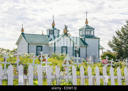 The Holy Transfiguration of our Lord Russian Orthodox Church and graveyard in Ninilchik, Kenai Peninsula, Alaska, - Stock Image