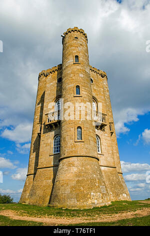 Broadway Tower in Worcestershire on the Cotswolds Hills AONB Area, and is on the Cotswold Way - Stock Image
