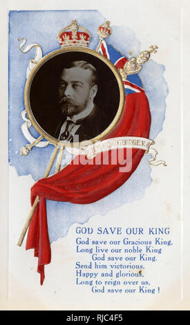 HRH King George V - inset portrait with British flag. Coronation souvenir postcard from 1911. - Stock Image