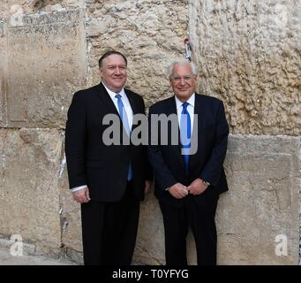 U.S. Secretary of State Mike Pompeo, left, tours the Western Wall and Tunnels with U.S. Ambassador David Friedman March 21, 2019 in Jerusalem, Israel. - Stock Image