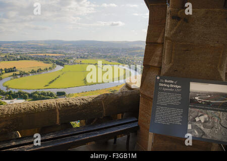 The battlefield of Stirling Bridge surrounded by The River Forth and Stirling viewed from The National Wallace Monument, - Stock Image