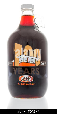 Winneconne, WI - 27 May 2019 : A bottle of A & W root beer celebrating 100 years on an isolated background - Stock Image