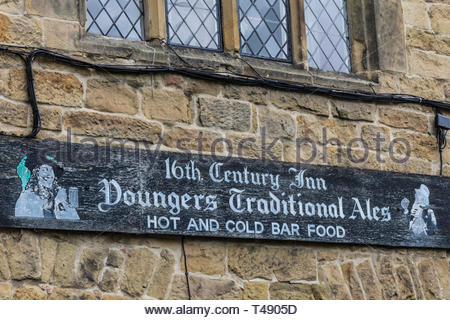 A sign on the front of the Hardwick Inn, Chesterfield, Derbyshire, England, UK - Stock Image