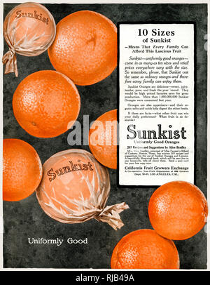 An advertisement for Sunkist oranges - '10 sizes of Sunkist means that every family can afford this lucious fruit'. - Stock Image