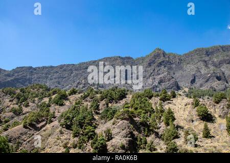 Volcanic landscape at Barranco  de las Augustias, La Palma, Canary Islands, Spain - Stock Image