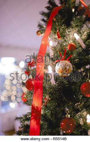Magic Christmas tree and bokeh - Stock Image