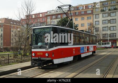Tatra T6A5 Tram No. 8619 at Olšanské Hřbitovy, Czech Republic -1Europe, Street scene, Streetscene, Daytime, - Stock Image