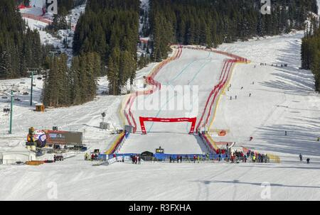 Downhill Alpine Skiing Finish Line at Lake Louise Ski Area, a site of Men and Women FIS World Cup in Alberta Canada - Stock Image