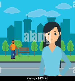 Young people at city park scenery cartoons vector illustration graphic design - Stock Image