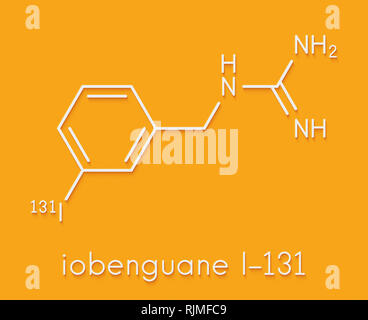 Iobenguane I-131 cancer drug molecule (radiopharmaceutical). Skeletal formula. - Stock Image
