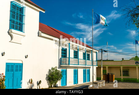 Town Hall of Flores in Guatemala - Stock Image