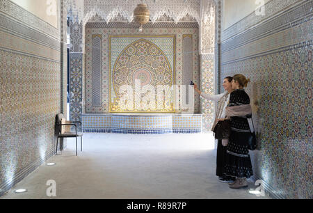 Marrakech Travel - Two women tourists taking a selfie photo; the Saadian Tombs, Marrakech, Morocco North Africa - Stock Image