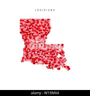 I Love Louisiana. Red and Pink Hearts Pattern Vector Map of Louisiana Isolated on White Background. - Stock Image