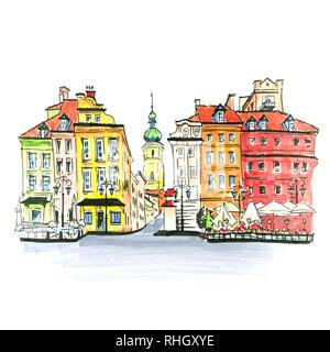 Castle Square in Warsaw, Poland - Stock Image