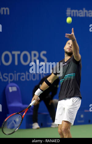 Pune, India. 4th January 2019. Steve Darcis of Belgium in action in the first semi-final of singles competition at Tata Open Maharashtra ATP Tennis tournament in Pune, India. Credit: Karunesh Johri/Alamy Live News - Stock Image