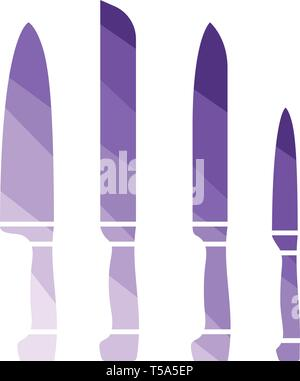 Kitchen knife set icon. Flat color design. Vector illustration. - Stock Image