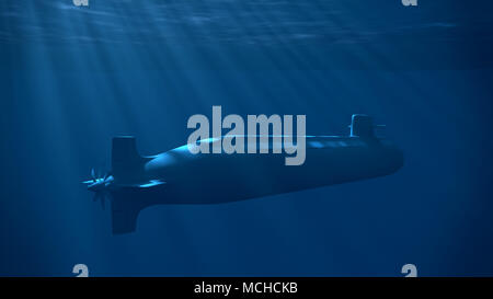 Nuclear submarine under the wave with sun rays. Underwater blue light. - Stock Image