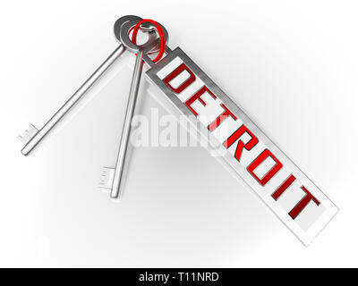 Detroit Real Estate Keys Depicts Residential Buying In Michigan. Investment Property Or Owner Homes Mortgages - 3d Illustration - Stock Image
