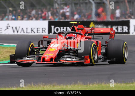 Silverstone Circuit. Northampton, UK. 13th July, 2019. FIA Formula 1 Grand Prix of Britain, Qualification Day; Charles Leclerc driving his Scuderia Ferrari Mission Winnow SF90 finshed 3rd on pole for the race Credit: Action Plus Sports/Alamy Live News - Stock Image