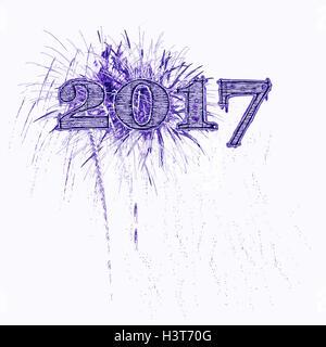 Fireworks illustration celebrating 2017 grunge purple and black numbers white background Happy New Year Year's - Stock Image