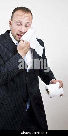 businessman with napkin on isolated background - Stock Image