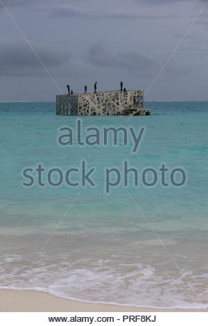 View from beach of the Coralarium sculpture installation in Maldives - Stock Image