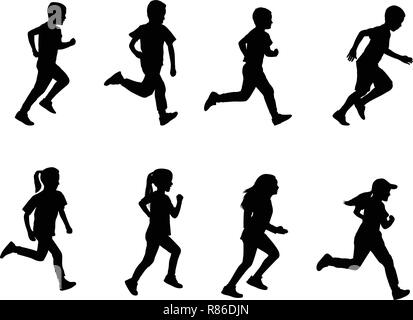 kids running silhouettes - vector - Stock Image
