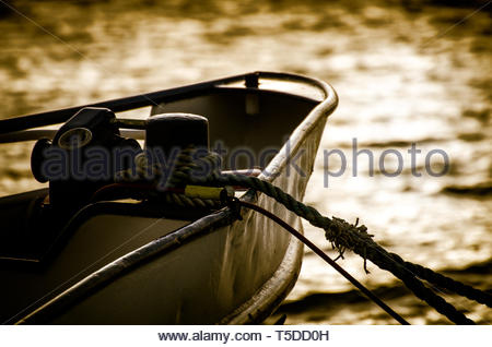 A Ship in the sunset at the Altmühlsee Gunzenhausen - Stock Image
