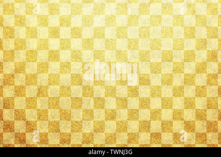 Japanese traditional gold white color checkered pattern paper texture abstract - Stock Image