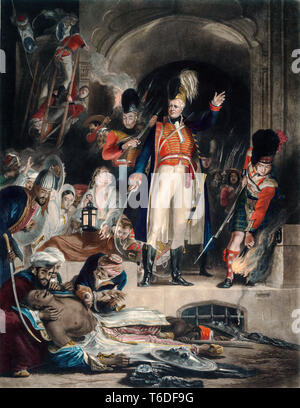 General Sir David Baird discovering the body of Tipu Sultan after storming Seringapatam on 4th May 1799, painting by David Wilkie , Engraved by John Burnet, 1843 - Stock Image