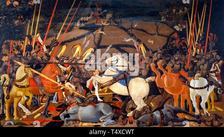 The Battle of San Romano, Paolo Uccello, circa 1435-1440, Galleria degli Uffizi, Uffizi Gallery, Florence, Tuscany, Italy - Stock Image