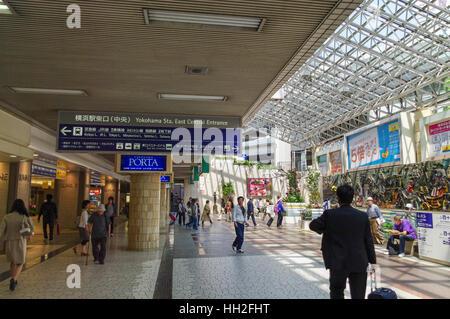 Eastern concourse and entrance of Yokohama Train Station, Yokohama, Japan. - Stock Image