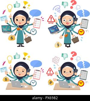A set of old women wearing hijab who perform multitasking in the office.There are things to do smoothly and a pattern that is in a panic.It's vector a - Stock Image