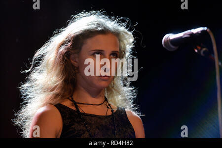 Prague, Czech Republic. 16th Jan, 2019. Russian artist and activist Maria Alyokhina performs during the performance 'Pussy Riot presents Riot Days' in Prague, Czech Republic, on January 16, 2019. Credit: Michaela Rihova/CTK Photo/Alamy Live News - Stock Image