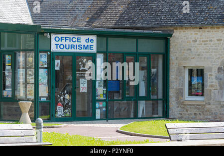 Sainte-Mere-Eglise, Normandy, France, June 16, 2018 Tourist Office  of St Mere Eglise, which was the first town on the West Front liberated in 1944 - Stock Image