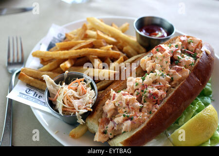 Lobster roll platter with french fries and cole slaw - Stock Image