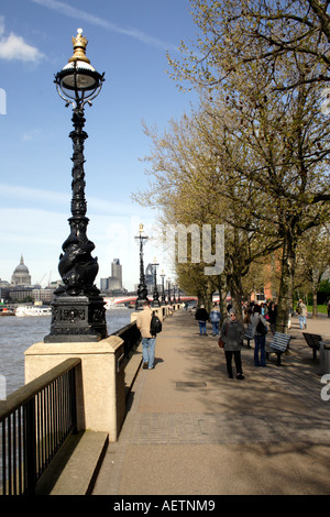 South Bank promenade London Spring 2006 - Stock Image