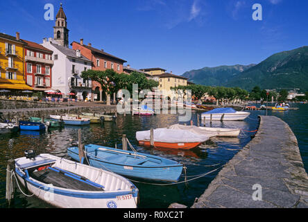 harbour of Ascona at dusk, Ascona, Lake Maggiore (Verbano), Canton of Ticino, Switzerland - Stock Image