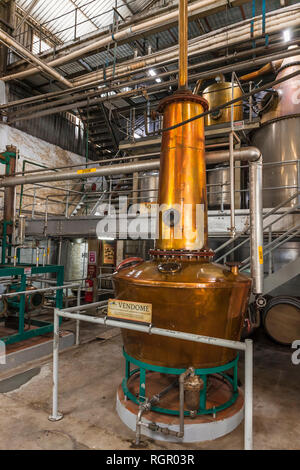 Saint Lucia Distillers, rum factory still. - Stock Image