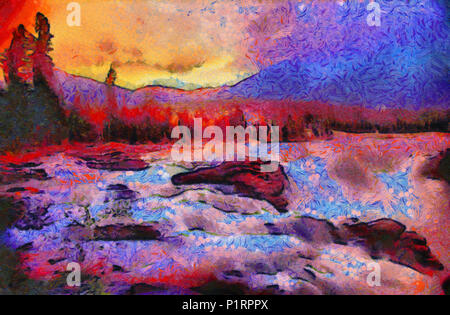 Paint effect on the Athabasca Falls, Jasper National Park, Alberta, Canada - Stock Image