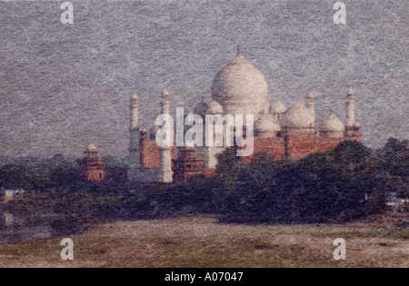 Taj Mahal from the Red Fort Artistic Impression, Rajasthan, India - Stock Image