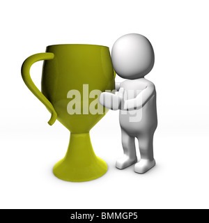 Character kissing gold trophy - Stock Image