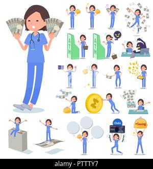A set of Surgical Doctor women with concerning money and economy.There are also actions on success and failure.It's vector art so it's easy to edit. - Stock Image
