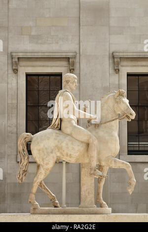 The British Museum, London, UK. A 1st century Roman statue of a youth on horseback, in the Queen Elizabeth II Great Court - Stock Image